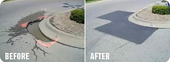 Before and After Infrared Asphalt Repair