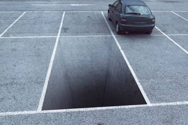 3D Street Art in a Parking Lot