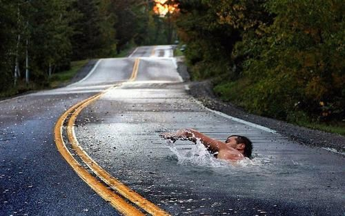 Swimming on the Street - 3D Street Art