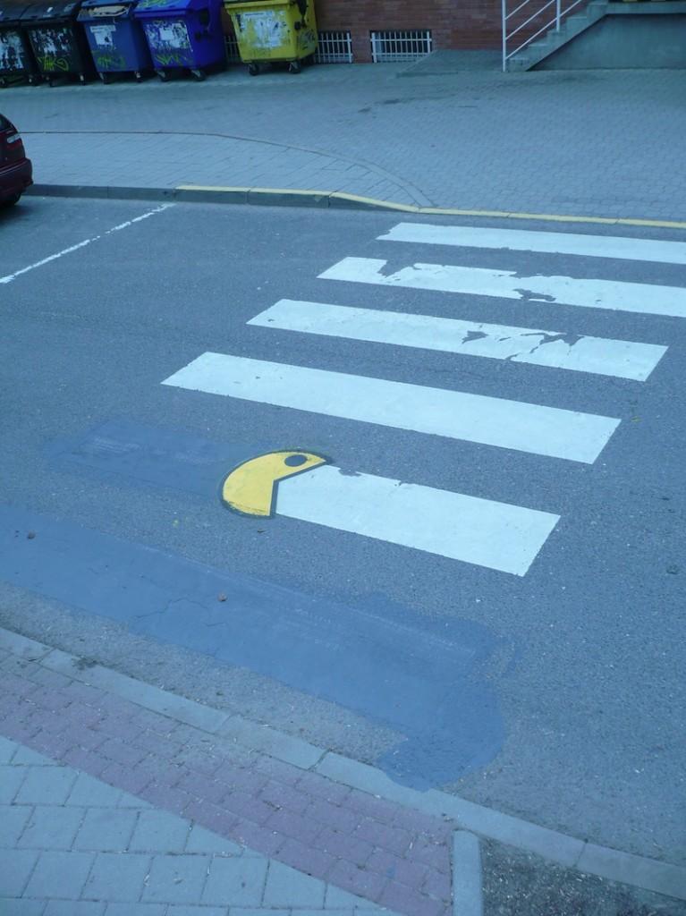 Pac-man Sidewalk Art