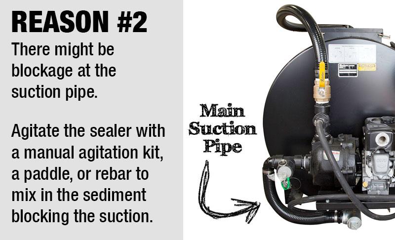 Sealcoating sprayer pipe blocked