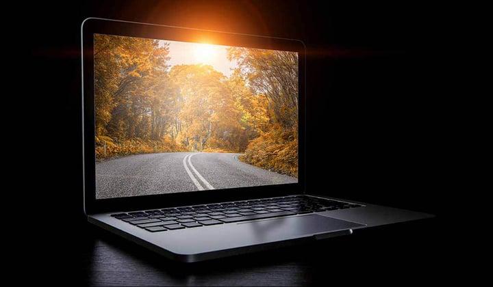 Computer with asphalt road