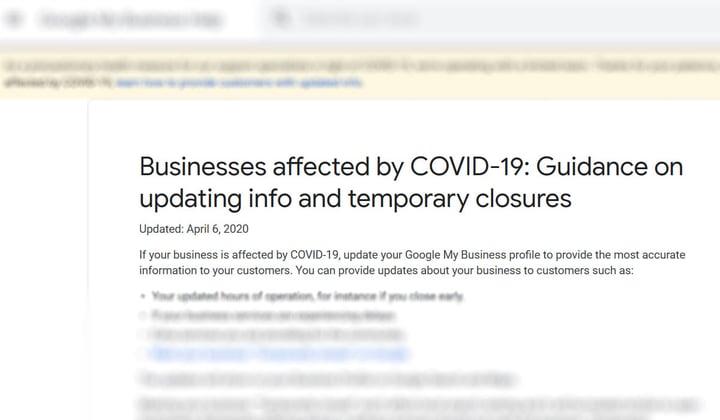 Google My Business COVID-19 updates