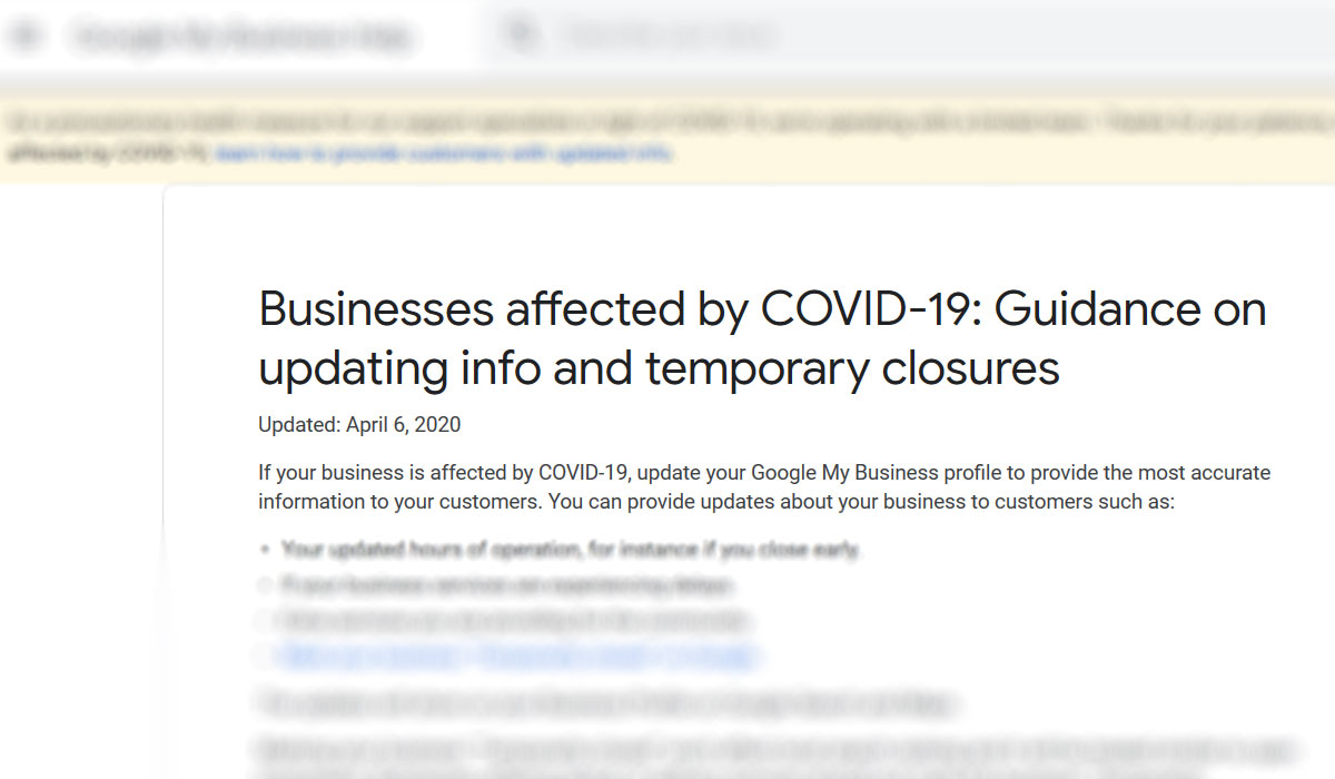 Google My Business COVID-19 updates